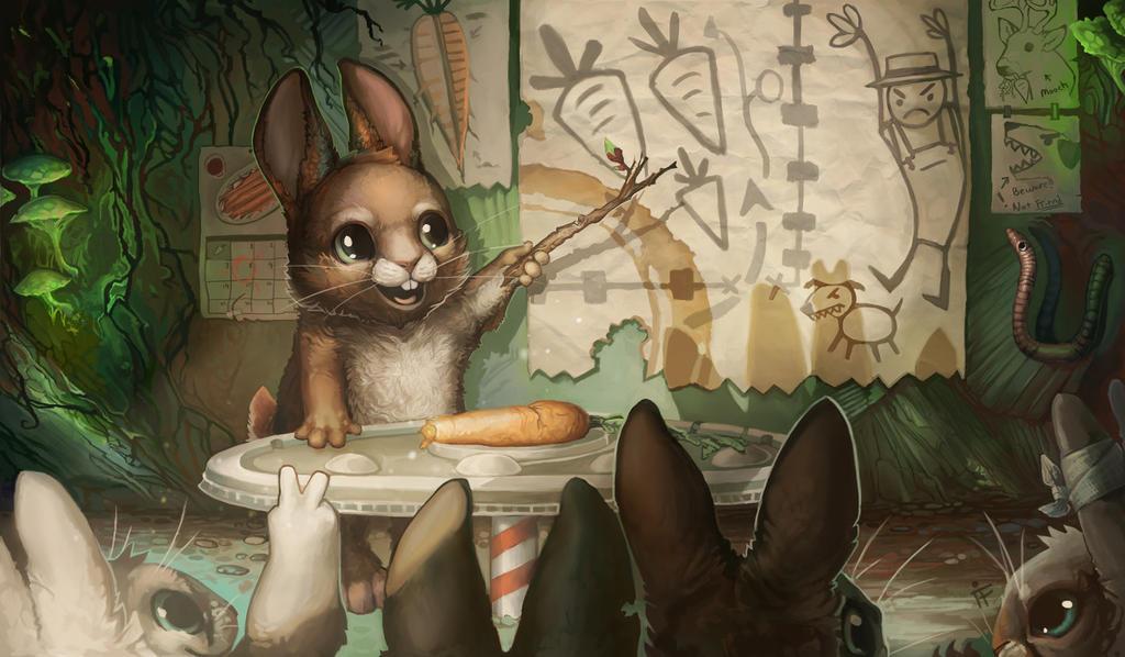 Image of Rabbits Looking at Map of Carrots